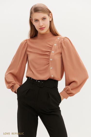 Легкая блузка с асимметричным рядом пуговиц 1151003306
