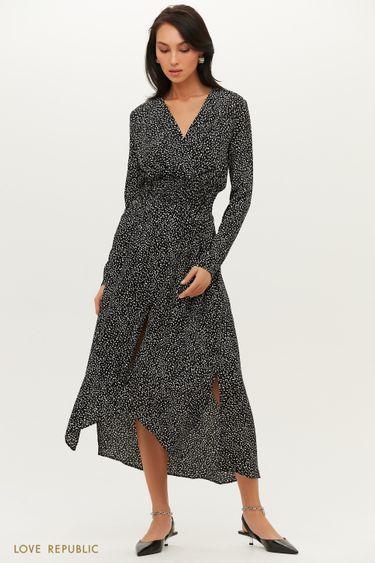 Струящееся платье с асимметричным подолом с разрезом 1151019513