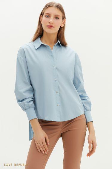 Рубашка с удлиненной плиссированной спинкой 1151022317