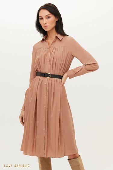 Плиссированное платье-рубашка с ремнем 1151031527