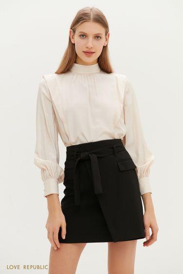 Кремовая блузка с рукавами-буфами 1151049349