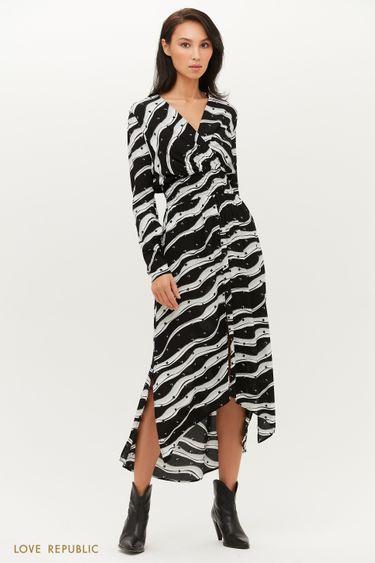 Струящееся платье с асимметричным подолом с разрезом 1151051578