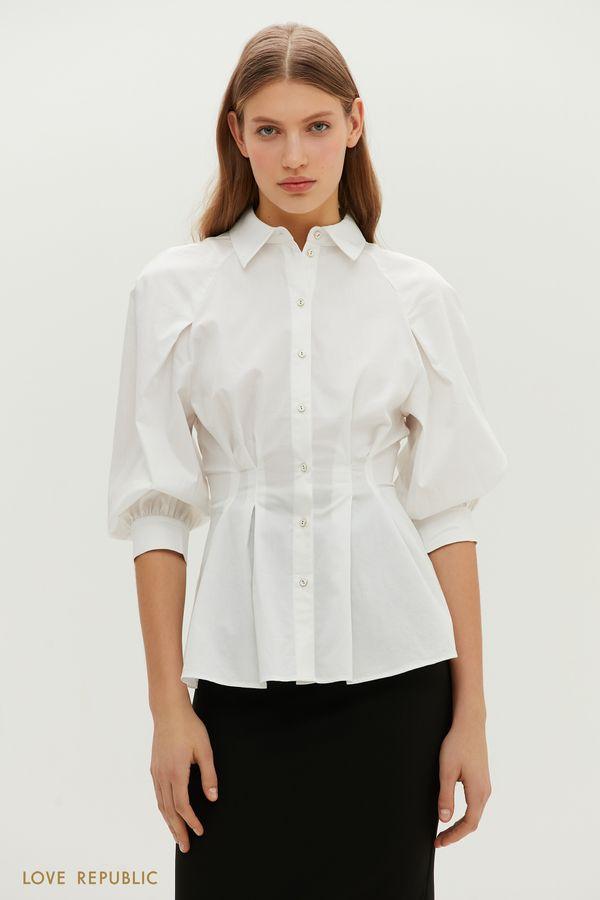 Приталенная удлиненная рубашка с объемными рукавами 1151010309-1