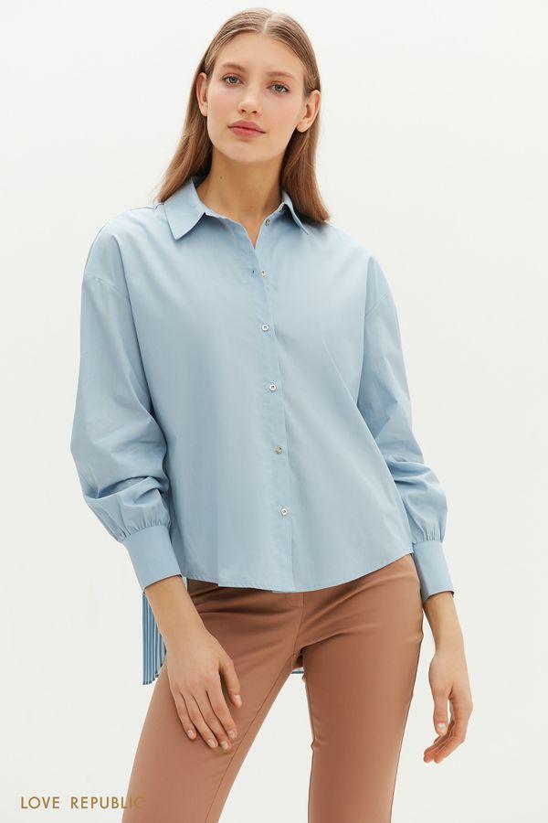 Рубашка с удлиненной плиссированной спинкой 1151022317-1