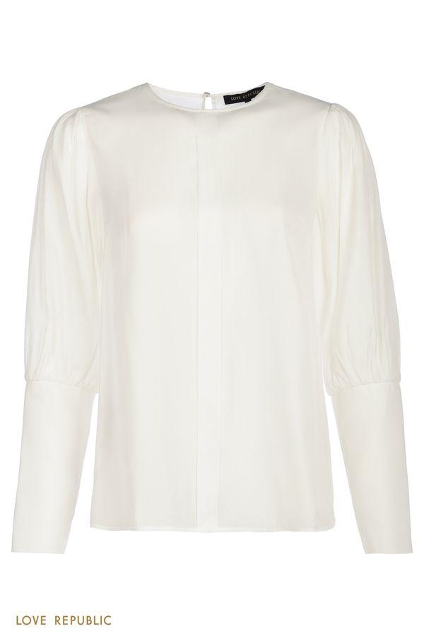 Молочная блузка с ультраширокими манжетами 1151030330-60