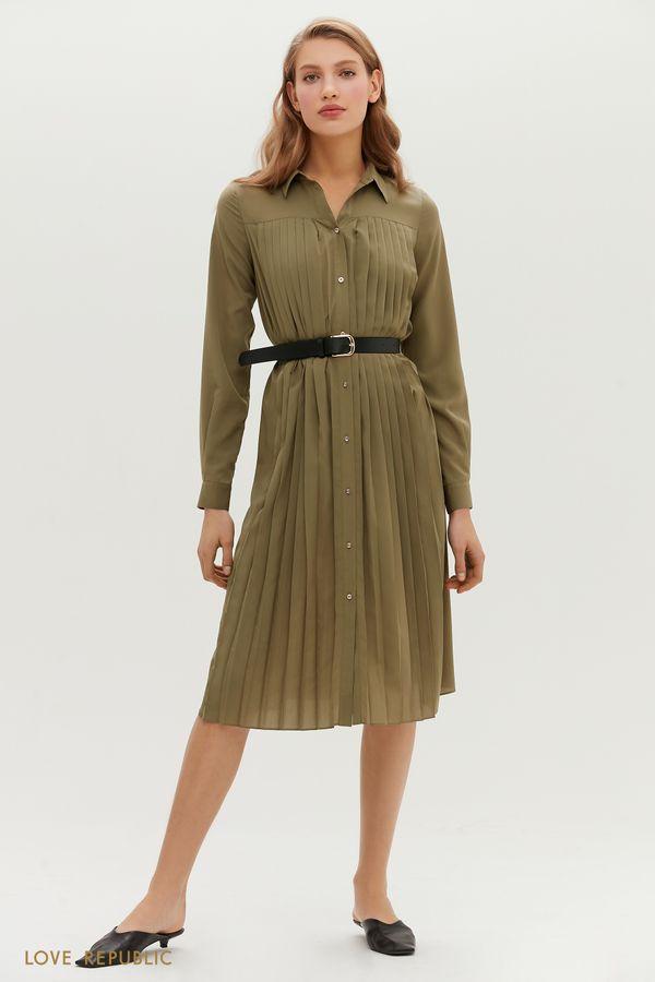 Плиссированное платье-рубашка с ремнем 1151031527-93