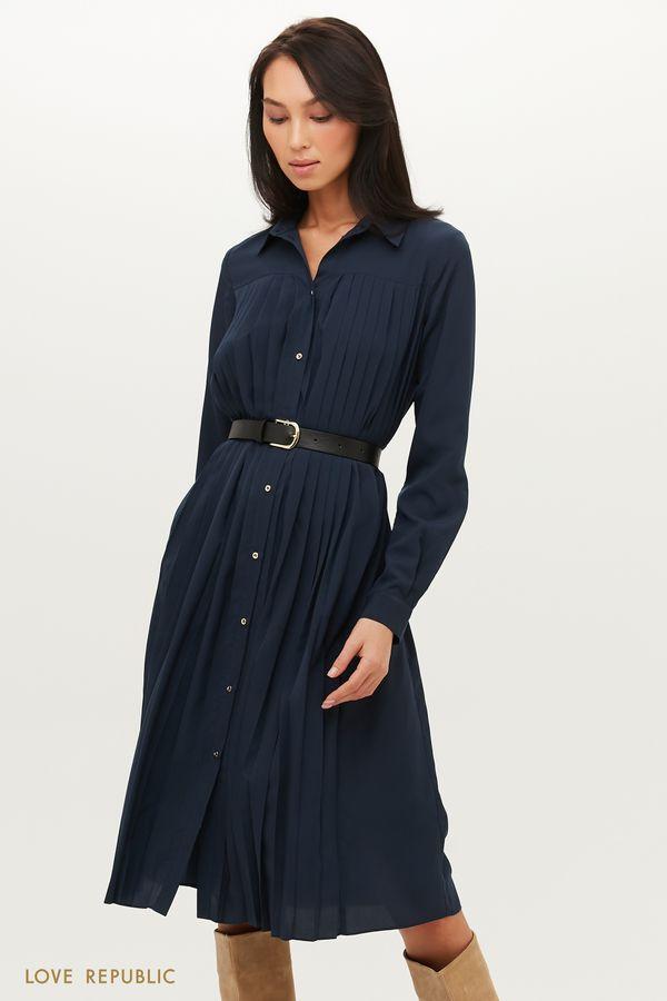 Плиссированное платье-рубашка с ремнем 1151031527-62