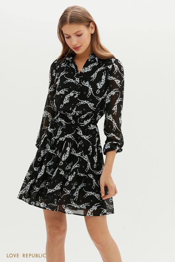 """Приталенное платье мини с ярусным подолом и принтом """"Star Cats"""" 1151040536-53"""