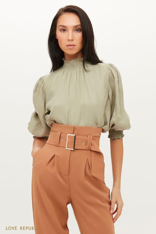Воздушная шифоновая блузка с рукавами-буфами 1151046346-61