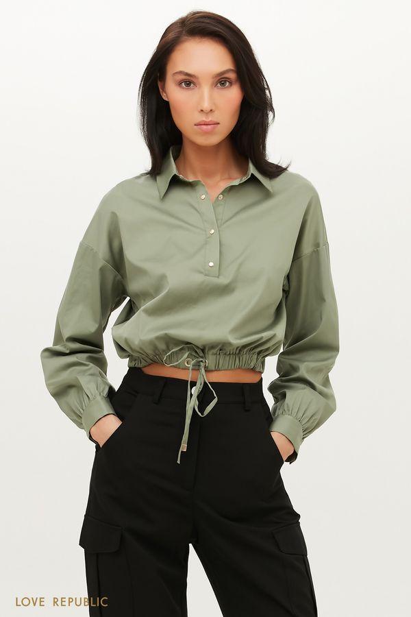 Укороченная рубашкас эластичной талией 1151047347-13