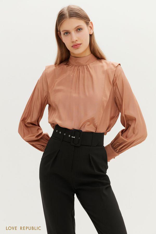Бежевая блузка с рукавами-буфами 1151049349-62