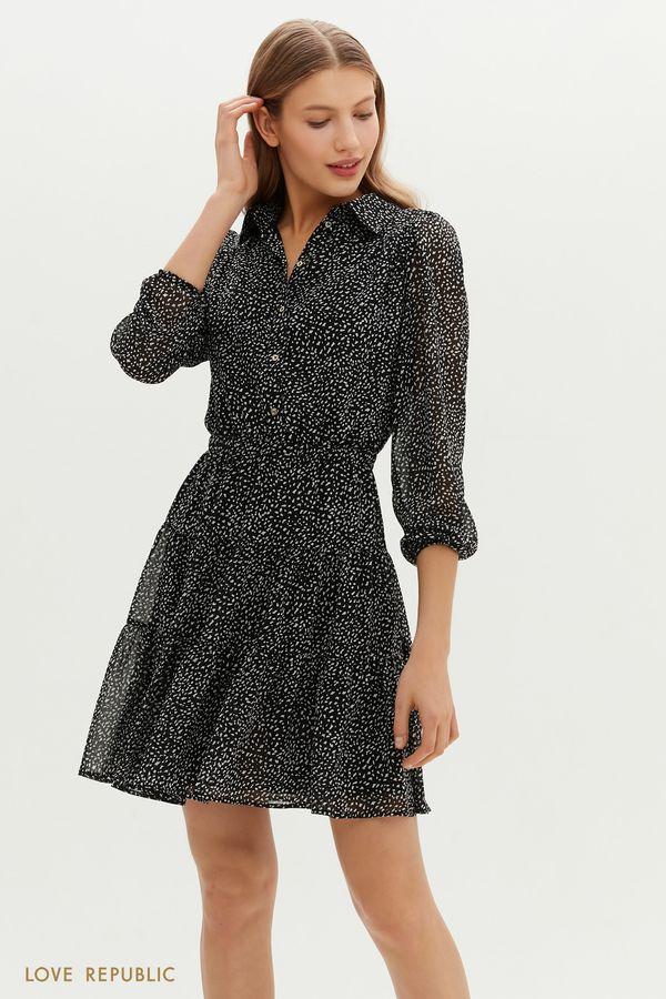 Черное платье мини с ярусным подолом и мелкографичным принтом 1151052579-54