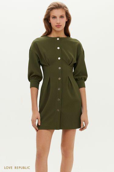 Фактурное платье с защипами на талии 1151106518