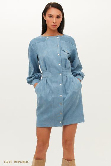 Приталенное платье из экозамши на заклепках 1151107519