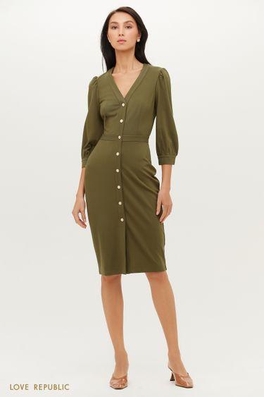 Приталенное платье-футляр из мягкого трикотажа 1151121530