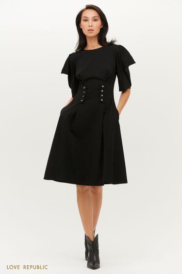 Платье миди с корсетным поясом и фигурными рукавами 1151123532