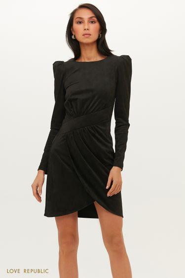Платье мини из экозамши с асимметричным запахом 1151125503