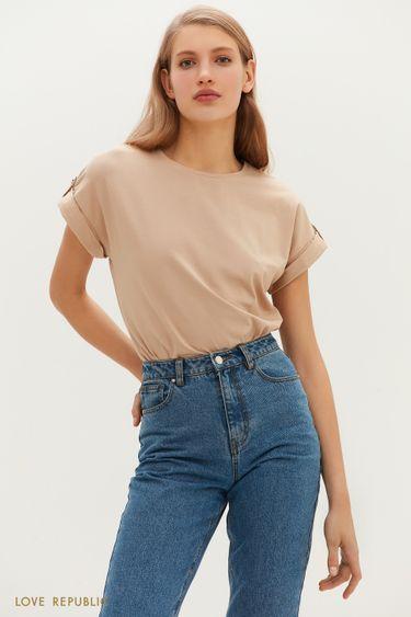 Базовая футболка с заниженной линией плеч 1151134354