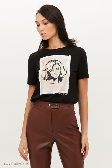 Хлопковая футболка с принтом в пастельных тонах 1151136356