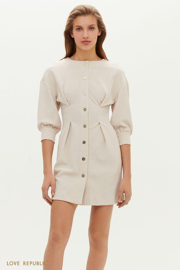 Фактурное платье с защипами на талии 1151106518-50