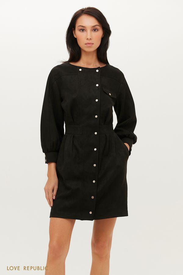 Приталенное платье из экозамши на заклепках 1151107519-41