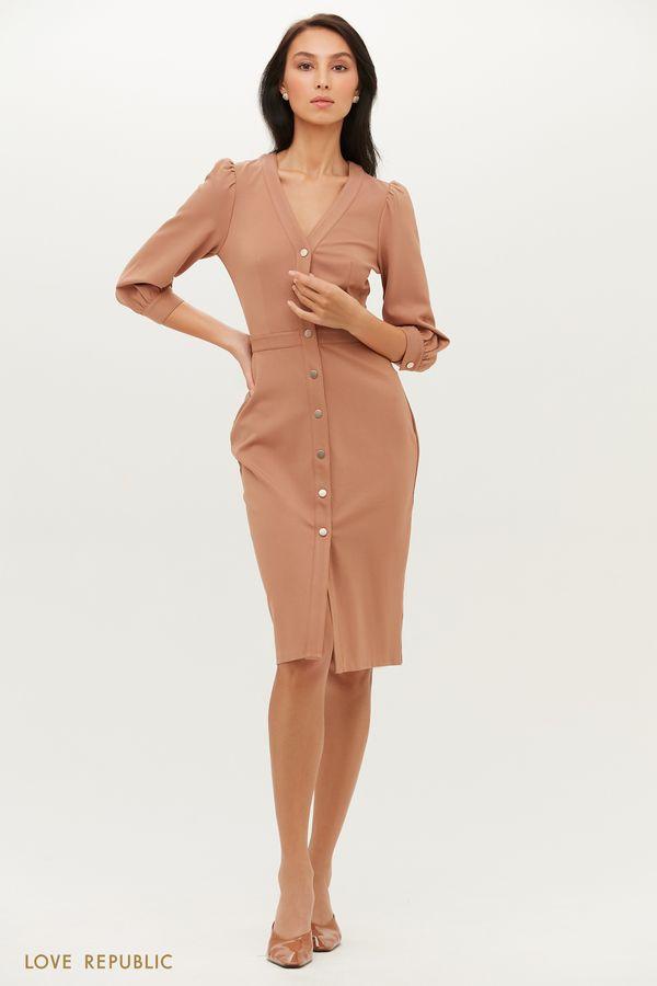 Приталенное платье-футляр из мягкого трикотажа 1151121530-61