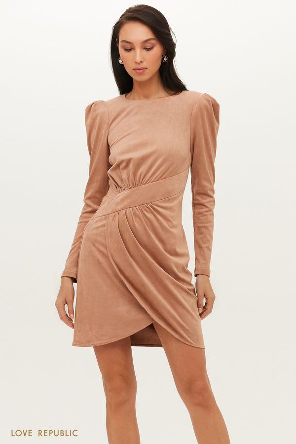 Платье мини из экозамши с асимметричным запахом 1151125503-62