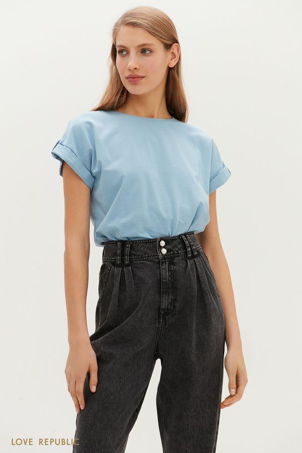 Базовая футболка с заниженной линией плеч 1151134354-41