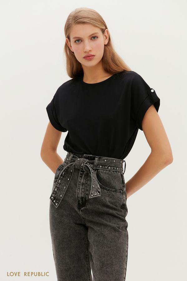 Базовая футболка с заниженной линией плеч 1151134354-1