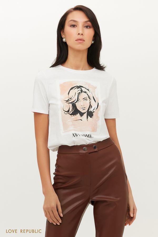 Хлопковая футболка с принтом в пастельных тонах 1151136356-1