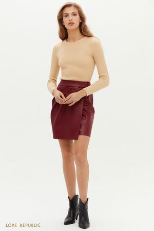 Кожаная мини-юбка с асимметричными сборками