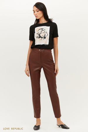 Зауженные брюки из экокожи с высокой посадкой