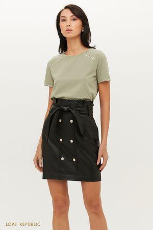 Двубортная юбка мини из экокожи с поясом
