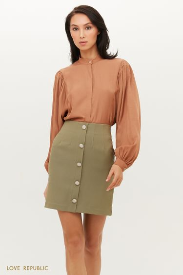 Короткая юбка А-силуэта с акцентными пуговицами 1151211205
