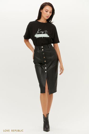 Кожаная юбка-карандаш на акцентных кнопках 1151213219