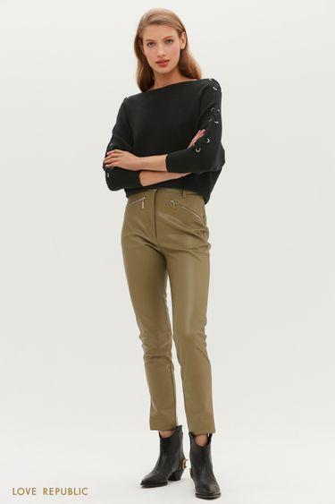 Эффектные зауженные брюки из экокожи с молниями 1151213730