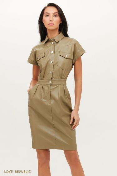 Приталенное платье из экокожи в стиле милитари 1151216553