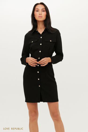 Приталенное платье-рубашка длины мини 1151219551