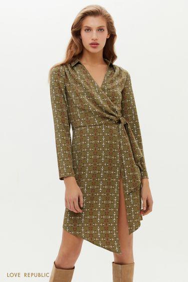 Асимметричное платье на запах с графичным принтом 1151236560