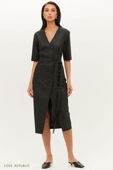 Лаконичное платье из экокожи с запахом и поясом на талии 1151251569