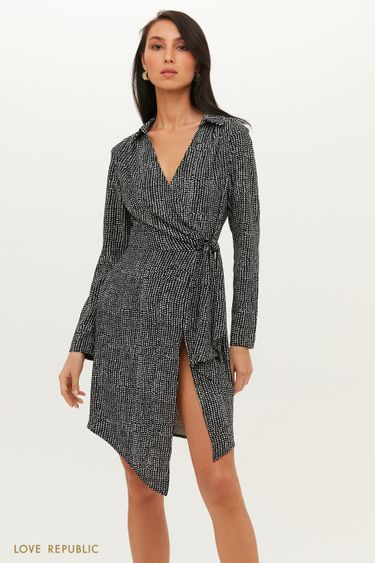 Асимметричное платье на запах с графичным принтом 1151257560