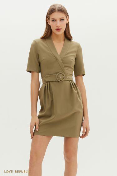 Приталенное платье мини с акцентным поясом 1151259581