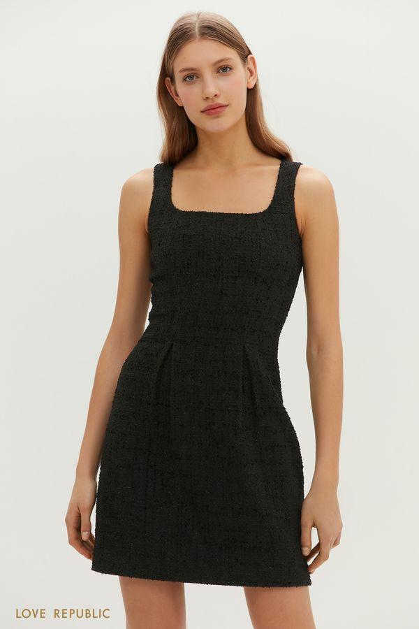 Твидовое мини-платье приталенного силуэта 1151207570-50