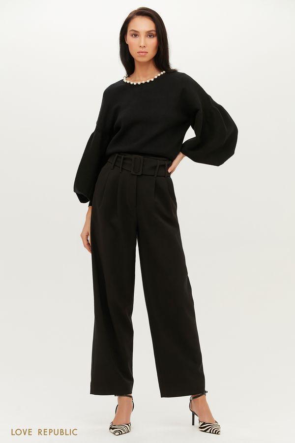 Ультрамодные брюки широкого кроя с защипами 1151210716-61