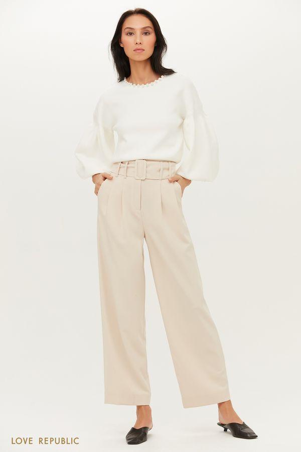 Ультрамодные брюки широкого кроя с защипами 1151210716-50