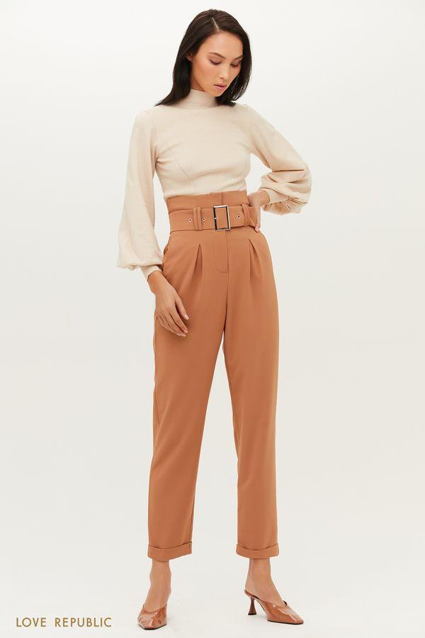 Прямые брюки с завышенной линией талии и эффектным поясом 1151210718-50