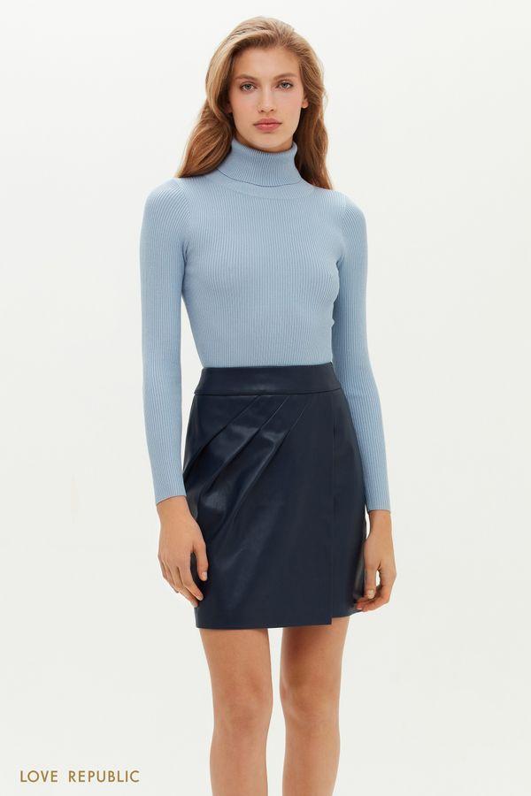 Кожаная мини-юбка с асимметричными сборками 1151213210-62