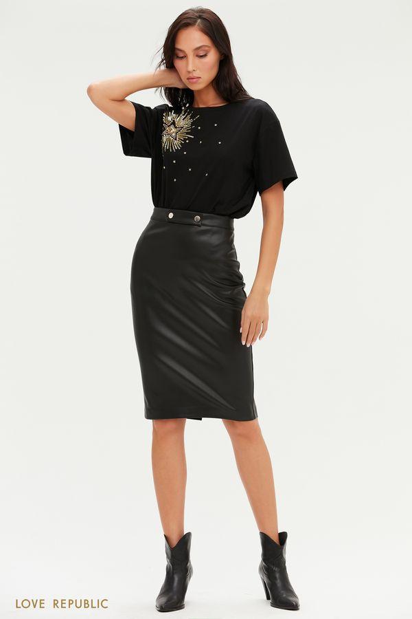 Лаконичная юбка миди из экокожи 1151213231-50