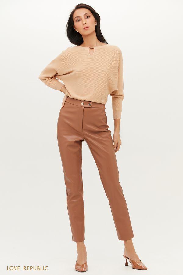 Зауженные брюки из экокожи с высокой посадкой 1151213728-62