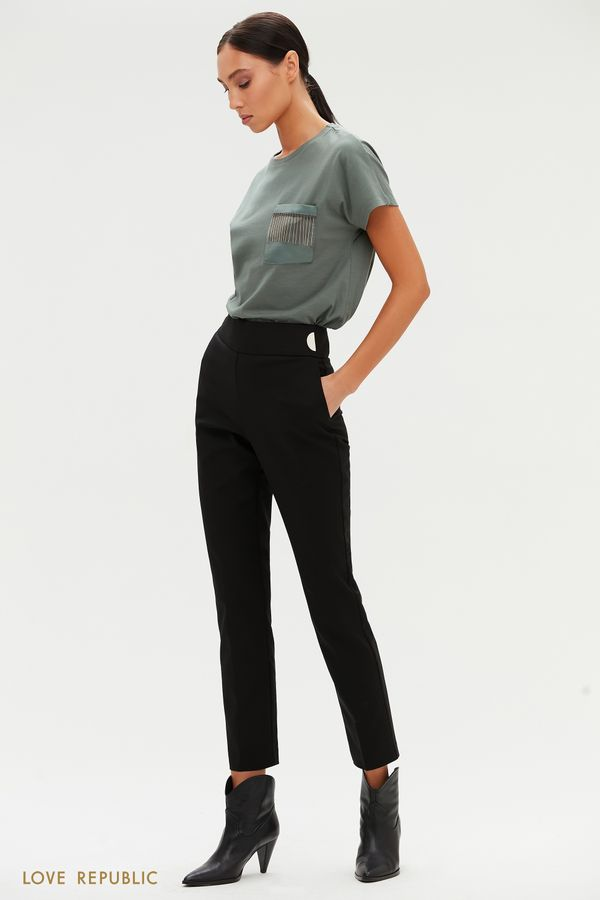 Прямые черные брюки с металлическими заклепками 1151215723-50